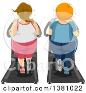 Rear View Of A Chubby Caucasian Couple Working Out On Treadmills Together