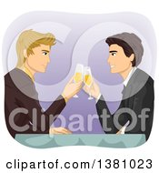 Caucasian Gay Couple Toasting With Champagne At A Table