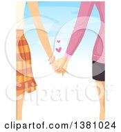 Clipart Of A Rear View Of A Caucasian Lesbian Couple Holding Hands Against Blue Sky Royalty Free Vector Illustration