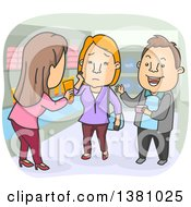 Clipart Of A Cartoon Caucasian Woman Selling Anti Acne Products To A Couple Royalty Free Vector Illustration