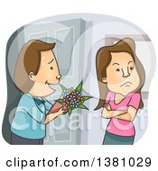 Clipart Of A Man Trying To Offer Flowers To An Angry Woman Royalty Free Vector Illustration
