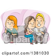 Clipart Of A Cartoon Lonely Caucasian Woman Sitting On The Opposite End Of A Couch From A Couple Royalty Free Vector Illustration by BNP Design Studio