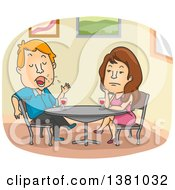 Clipart Of A Cartoon Caucasian Woman Bored While On A Date With An Endless Male Talker Royalty Free Vector Illustration by BNP Design Studio
