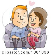 Young Caucasian Man Dating An Older Woman Sitting On A Couch