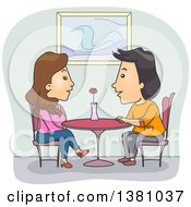Clipart Of A Happy Couple Talking On A Date Royalty Free Vector Illustration