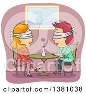 Clipart Of A Blindfolded Couple Talking At A Table On A Date Royalty Free Vector Illustration by BNP Design Studio