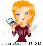 Clipart Of A Red Haired Caucasian Woman Holding Makeup Palettes Royalty Free Vector Illustration by BNP Design Studio