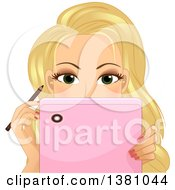 Blond Caucasian Woman Watching A Tutorial On Her Tablet While Applying Eyeliner