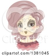 Clipart Of A Woman In Day Of The Dead Makeup Royalty Free Vector Illustration by BNP Design Studio