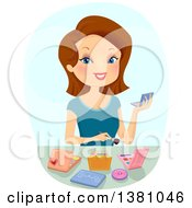 Clipart Of A Happy Brunette White Woman Experimenting With Makeup Royalty Free Vector Illustration by BNP Design Studio