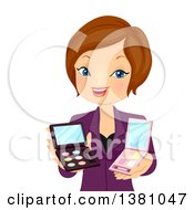 Clipart Of A Brunette Caucasian Beauty Consultant Woman Recommending Makeup Royalty Free Vector Illustration