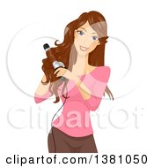 Clipart Of A Brunette Caucasian Woman Curling Her Hair Royalty Free Vector Illustration