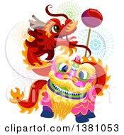 Clipart Of A Dancing Chinese New Year Dragon And Fireworks Royalty Free Vector Illustration by BNP Design Studio