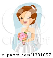 Clipart Of A Happy Brunette Caucasian Bride Holding Flowers Royalty Free Vector Illustration