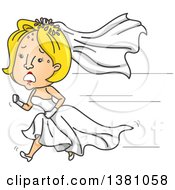 Clipart Of A Cartoon Blond Caucasian Bride Running In Her Wedding Dress Royalty Free Vector Illustration