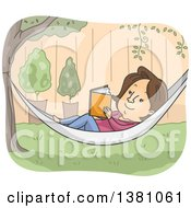 Clipart Of A Cartoon Brunette White Woman Reading A Book In A Hammock In A Yard Royalty Free Vector Illustration by BNP Design Studio