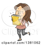 Cartoon Brunette White Woman Kissing A Newly Released Book