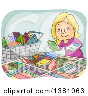 Clipart Of A Cartoon Happy Blond White Woman Picking Through Books For Sale Royalty Free Vector Illustration