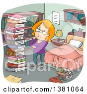 Clipart Of A Cartoon Red Haired White Woman Going Through Her Library In Her Bedroom Royalty Free Vector Illustration