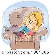 Clipart Of A Cartoon Blond White Woman Dozing In A Chair In The Middle Of Reading A Book Royalty Free Vector Illustration