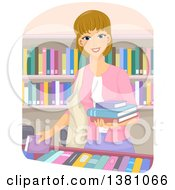 Clipart Of A Happy Dirty Blond White Woman Selecting Books At A Store Or Library Royalty Free Vector Illustration