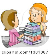 Clipart Of A Cartoon Cashier Ringing Up A Woman At A Book Store Royalty Free Vector Illustration