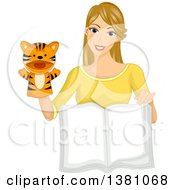 Clipart Of A Dirty Blond White Woman Using A Tiger Puppet And Reading A Story Book Royalty Free Vector Illustration