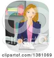 Clipart Of A Dirty Blond White Woman Copy Editor Checking A Manuscript Royalty Free Vector Illustration