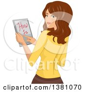 Clipart Of A Brunette Caucasian Woman Reading A How To Tutorial On Her Tablet Royalty Free Vector Illustration by BNP Design Studio