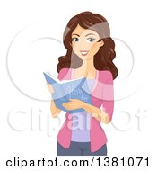 Clipart Of A Brunette Caucasian Woman Reading A How To Book Royalty Free Vector Illustration by BNP Design Studio
