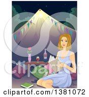 Clipart Of A Happy Blond White Woman Reading A Book While Glamping Royalty Free Vector Illustration