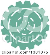 Clipart Of A Turquoise Steampunk Gear Cog Wheel Royalty Free Vector Illustration