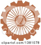 Clipart Of A Brown Steampunk Gear Cog Wheel Royalty Free Vector Illustration