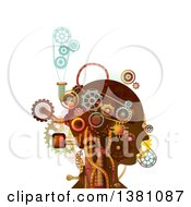 Clipart Of A Steampunk Human Head With Mechanical Gears And Pipes Royalty Free Vector Illustration