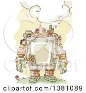 Clipart Of A Sketched Steampunk Robot Thinking Outdoors Royalty Free Vector Illustration