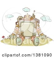 Clipart Of A Sketched Steampunk Robot Sitting Outdoors Royalty Free Vector Illustration