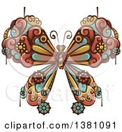 Clipart Of A Steampunk Butterfly With Gear Cogs Royalty Free Vector Illustration