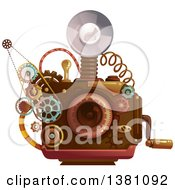 Clipart Of A Steampunk Camera With A Flash And Gears Royalty Free Vector Illustration by BNP Design Studio
