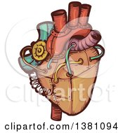 Clipart Of A Steampunk Human Heart Royalty Free Vector Illustration