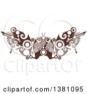 Clipart Of A Brown Steampunk Border Or Tattoo Design Element With Gears Royalty Free Vector Illustration