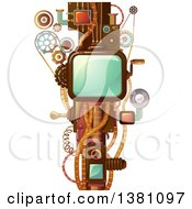 Clipart Of A Steampunk Frame With Cogs Handles And Wheels Royalty Free Vector Illustration