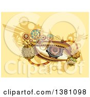 Clipart Of A Steampunk Human Eye With Gears On Yellow Royalty Free Vector Illustration by BNP Design Studio