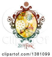 Clipart Of A Colorful Oval Steampunk Frame With Gears And Text Royalty Free Vector Illustration