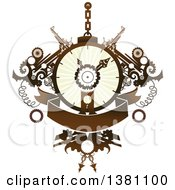 Clipart Of A Steampunk Clock With Gears And A Banner Royalty Free Vector Illustration by BNP Design Studio