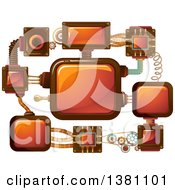 Clipart Of A Network Of Steampunk Screens Royalty Free Vector Illustration