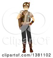 Happy Caucasian Teenage Guy In Steampunk Clothing
