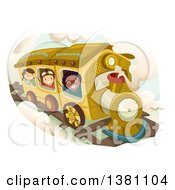 Clipart Of A Group Of Happy Kids Riding A Steampunk Train Royalty Free Vector Illustration