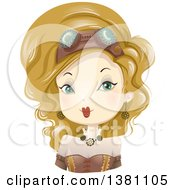 Clipart Of A Blond Caucasian Steampunk Woman Royalty Free Vector Illustration