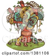 Steampunk Tree Made Of Pipes Springs And Gears