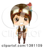 Clipart Of A Cute Steampunk Boy Wearing A Helmet Royalty Free Vector Illustration